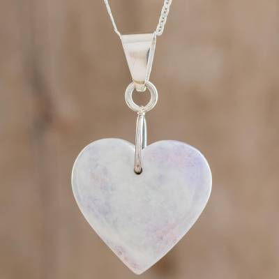 Jade heart necklace, 'Lilac Green Maya Heart' - Heart Shaped Sterling Silver Jade Pendant Necklace
