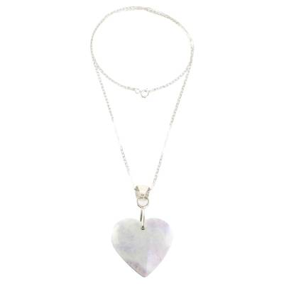 Heart Shaped Sterling Silver Jade Pendant Necklace