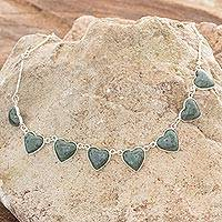 Jade heart necklace, 'Love Immemorial' - Jade heart necklace