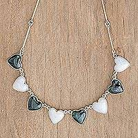 Jade heart necklace, 'Soul Mates' - Women's Heart Shaped Jade and Sterling Silver Necklace