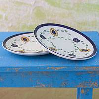 Ceramic dinner plates, 'Margarita' (pair) - Ceramic dinner plates (Pair)