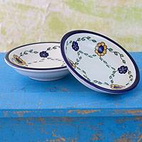 Ceramic dinner bowls, 'Margarita' (pair) - Ceramic dinner bowls (Pair)