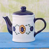 Ceramic tea pot, 'Margarita Blue' - Floral Ceramic Painted Teapot