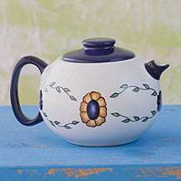Ceramic tea pot, 'Margarita' - Ceramic tea pot