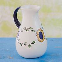 Ceramic jug, 'Margarita' - Handcrafted Floral Ceramic Pitcher