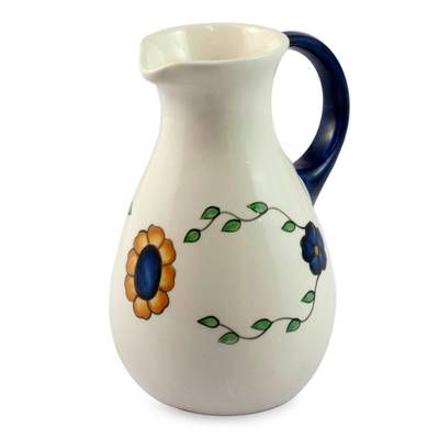 Handcrafted Floral Ceramic Pitcher