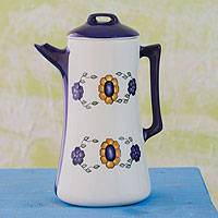 Ceramic coffee pot, 'Margarita' - Ceramic coffee pot