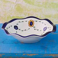 Ceramic fruit bowl, 'Margarita' - Ceramic fruit bowl