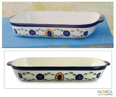 Ceramic rectangular serving dish, 'Margarita' - Rectangular Ceramic Floral Serving Dish