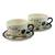 Ceramic cups and saucers, 'Margarita' (pair) - Hand Painted Floral Ceramic Tea Cups and Saucers (Pair) (image 2a) thumbail