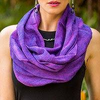 Cotton circular scarf, 'Purple Infinity' - Artisan Crafted Cotton Infinity Scarf