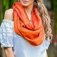 Cotton infinity scarf, 'Orange Infinity' - Hand Woven Orange Cotton Infinity Scarf from Guatemala