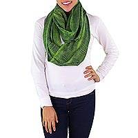 Cotton circular scarf, 'Green Infinity' - Handmade Cotton Green Scarf