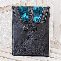 Leather and cotton tablet sleeve Maya Night Guatemala