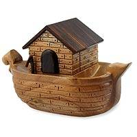 Mahogany puzzle box, 'Noah's Ark' - Hand Made Decorative Christian Wooden Box