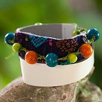 Leather and cotton wrap bracelet, 'Water Bird' - Leather Cotton Wrap Bracelet