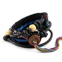 Leather and cotton wrap bracelet, 'Santiago Night' - Handmade Guatemalan Beaded Leather Wrap Bracelet