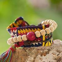 Leather and cotton wrap bracelet, 'Almolonga Heritage' - Handcrafted Central American Wood Cotton Wrap Bracelet
