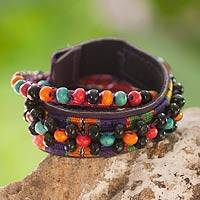 Leather and cotton wrap bracelet, 'Maya Candy' - Handwoven Leather and Cotton Wrap Bracelet