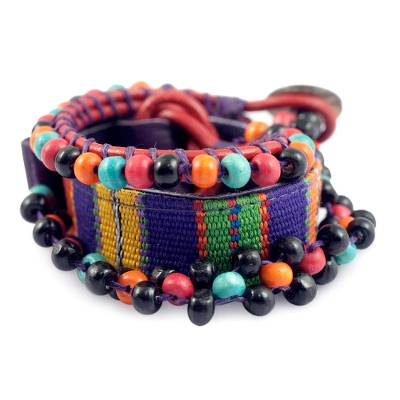 Handwoven Leather and Cotton Wrap Bracelet