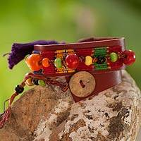 Leather and cotton wrap bracelet,