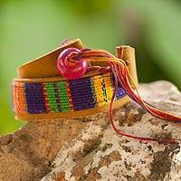 Leather and cotton wrap bracelet, 'Jaguar Amulet' - Hand Crafted Central American Leather Cotton Wrap Bracelet