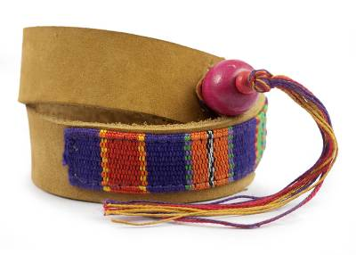 Hand Crafted Central American Leather Cotton Wrap Bracelet