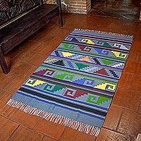 Cotton area rug, 'Pyramids by the Sea' - Handwoven Cotton Rug with Maya Motifs