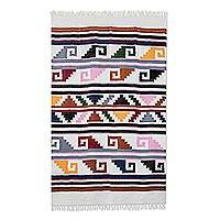 Cotton area rug, 'Pacific Pyramids' - Handwoven Geometric Cotton Area Rug from Guatemala