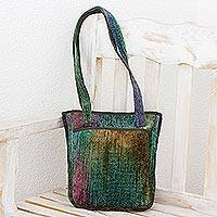 Bamboo chenille shoulder bag, 'Forest Rainbow' - Bamboo chenille shoulder bag