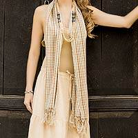 Cotton scarf, 'Maya Trails' - Unique Cotton Beige Scarf from Guatemala