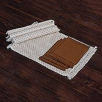 Cotton placemats and napkins, 'Cocoa Kiss' (set for 4) - Cotton placemats and napkins (Set for 4)