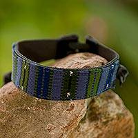 Men's leather and cotton wristband bracelet, 'Under the Mayan Sky'