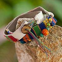 Leather and cotton wrap bracelet, 'Beautiful Guatemala' - Central American Leather Cotton Wrap Bracelet
