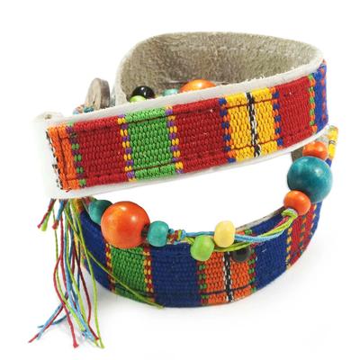 Central American Leather Cotton Wrap Bracelet