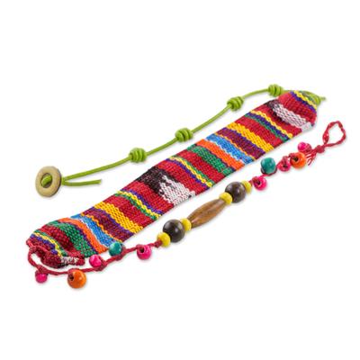 Wood Beaded Cotton Wrap Bracelet