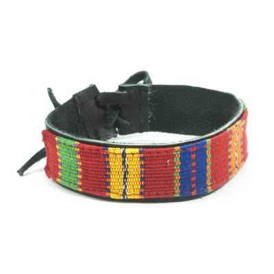 Hand Crafted Cotton Leather Wristband Bracelet