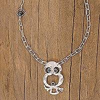 Jade pendant necklace, 'Owl Spirit' - Sterling Silver Pendant Jade Bird Necklace