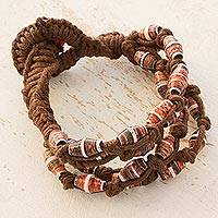 Recycled paper and cotton beaded bracelet, 'Earth's Warmth' - Artisan Jewelry Bracelet with Recycled Paper Beads