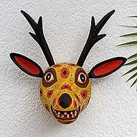 Wood mask, 'Yellow Maya Deer' - Handcrafted Wood Animal Decor Mask