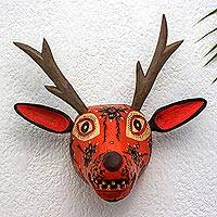 Wood mask, 'Orange Maya Deer' - Handcrafted Wood Animal Mask Wall Sculpture