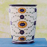 Ceramic vase, 'Margarita' - Handcrafted Wide Mouth Floral Ceramic Vase