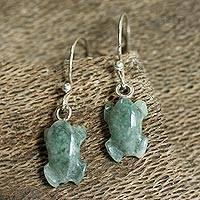 Jade dangle earrings, 'Tree Frog Song' - Central American Artisan Crafted Dangle Jade Earrings