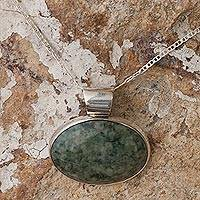 Jade pendant necklace, 'Maya Virtues' - Hand Crafted Sterling Silver Jade Pendant Necklace