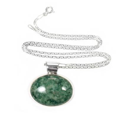 Hand Crafted Sterling Silver Jade Pendant Necklace