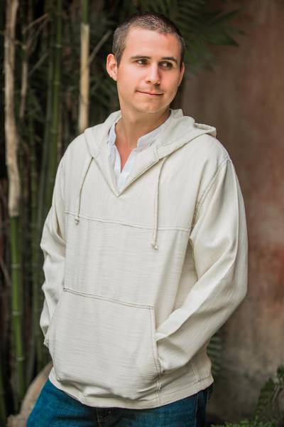 Men's cotton hoodie pullover, 'Grand Nature' - Men's cotton hoodie pullover