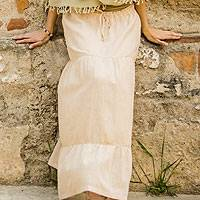 Cotton skirt, 'Naturally Modern' - Women's Long Tiered Cotton Skirt
