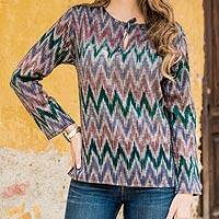 Women's cotton tunic, 'Maya Highlands' - Women's Handwoven Cotton Tunic Top