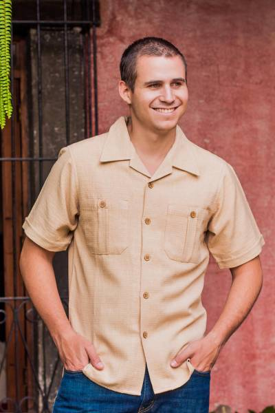 Men's cotton shirt, 'Nature's Elegance' - Central American Cotton Beige Shirt