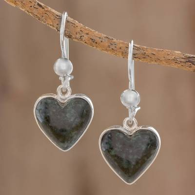 Jade heart earrings, 'Wild Heart' - Hand Made Heart Shaped Sterling Silver Dangle Jade Earrings